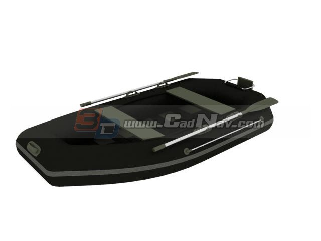 Inflatable rubber dinghy rafting boat 3d rendering