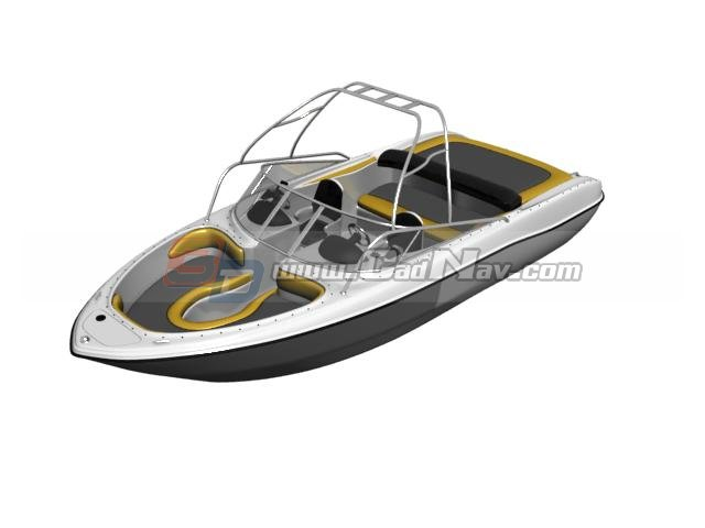 High-speed cruise yacht 3d rendering