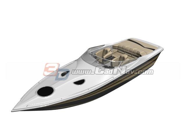 Fiberglass Speed boat 3d rendering
