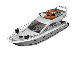 Cabin Boat Luxury cruise yacht 3d preview