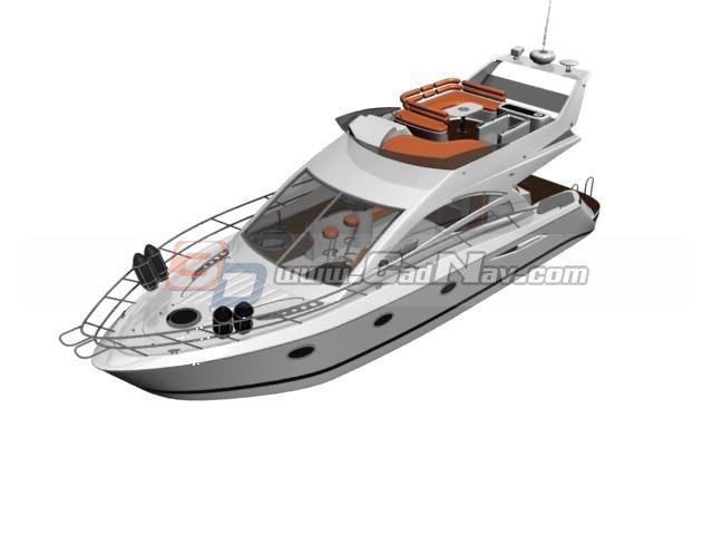 Cabin Boat Luxury cruise yacht 3d rendering