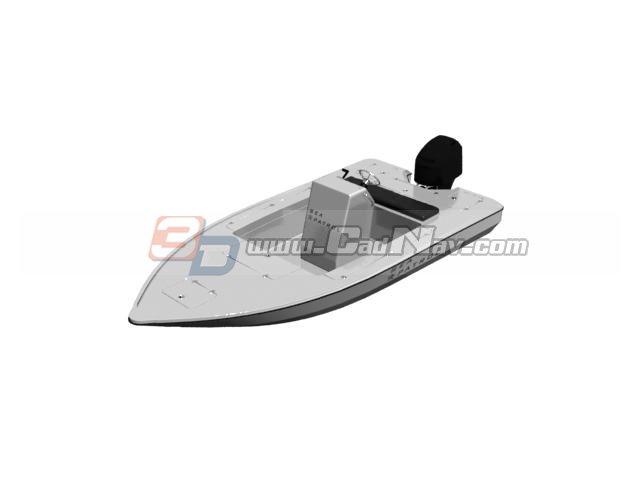 Fiberglass open speed boat 3d rendering