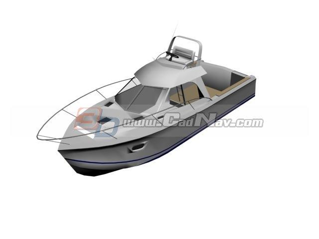 Cabin Boat Fishing Boat 3d rendering