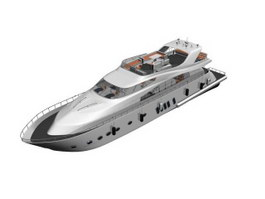 Cabin Cruiser Luxury Yacht 3d preview