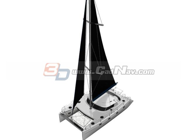 Sailboat cruise yacht 3d rendering