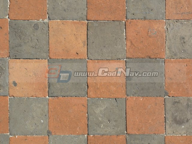 Red and black bricks paving road texture