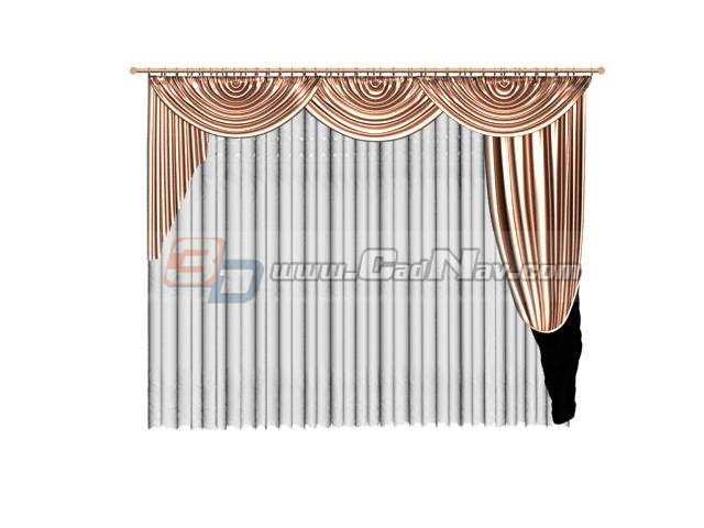 Velvet curtain with valance 3d rendering
