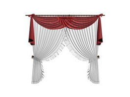 Window curtain with valance 3d preview