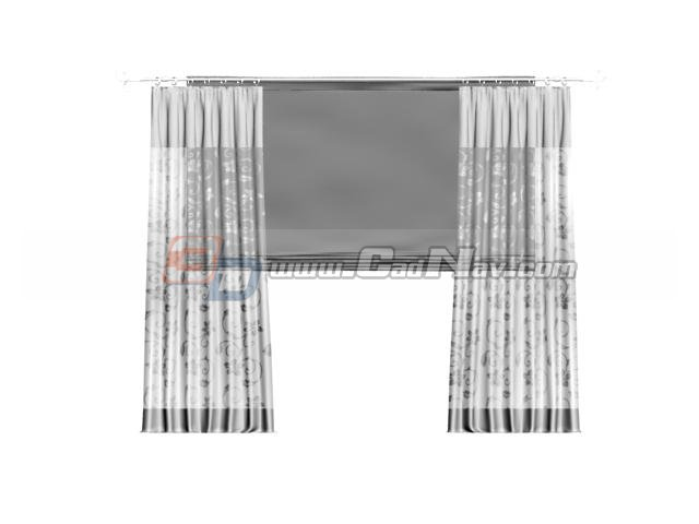 Sheer curtain and roller shade 3d rendering