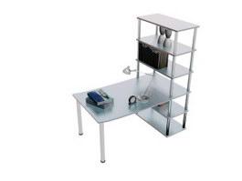 Home writing desk and bookshelf 3d model preview