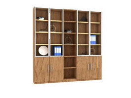 Wooden storage wall Bookcase 3d preview