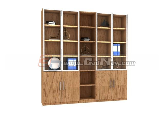 Wooden storage wall Bookcase 3d rendering