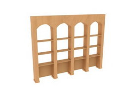 Library Furniture Wooden Bookshelf 3d preview