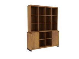 Wood wall cabinet book shelf with chest 3d preview
