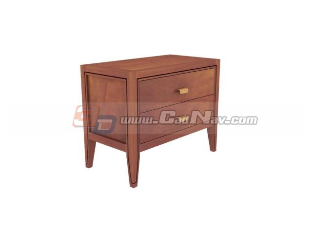 2 drawers side cabinet 3d rendering