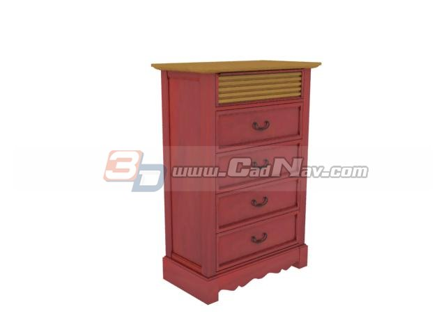 Antique 4 drawers side cabinet 3d rendering