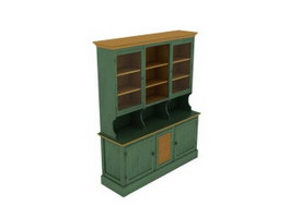 Antique Wooden Kitchen Cabinet Cupboard 3d model preview