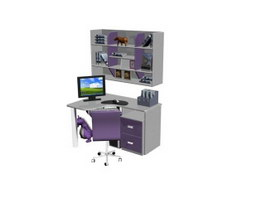 Home Office Computer Desk and Bookshelf 3d model preview