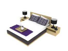Luxury hotel bed 3d preview