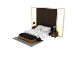 Home furniture bedroom set 3d preview
