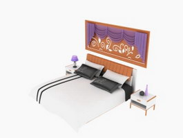 Home double bed and night tables 3d preview