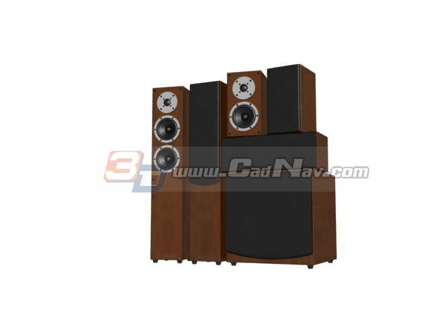 Professional stage audio system 3d rendering