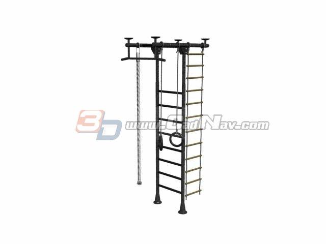 Steel climbing frame 3d rendering