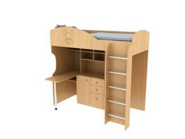 Children Furniture Wood bunk bed 3d preview