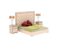 Antique Bed with bedside table and bedside lamp 3d preview