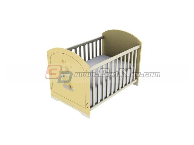 Wood Baby crib with Playpens 3d rendering