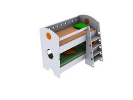Double bunk bed for kids room 3d model preview