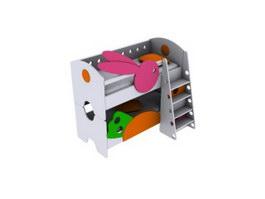 Children cartoon bed bunk bed 3d preview