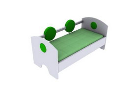 Child wood bed 3d model preview