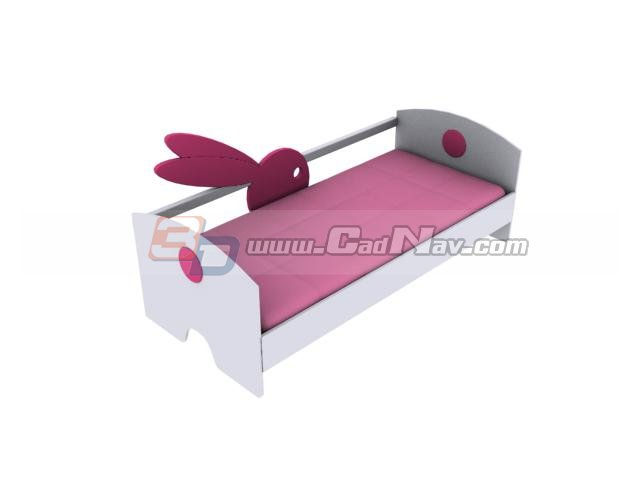 Cartoon kid bed 3d rendering