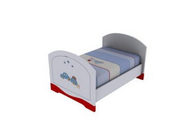 Single kid bed 3d model preview