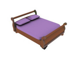 Wood double wall bed 3d model preview