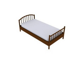 Wood single bed for kids 3d model preview