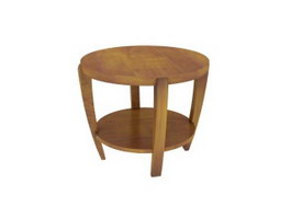 Round Wooden Tea table 3d preview