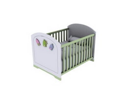 Wooden baby bed 3d preview