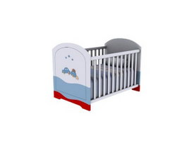 Wood baby cot bed 3d preview