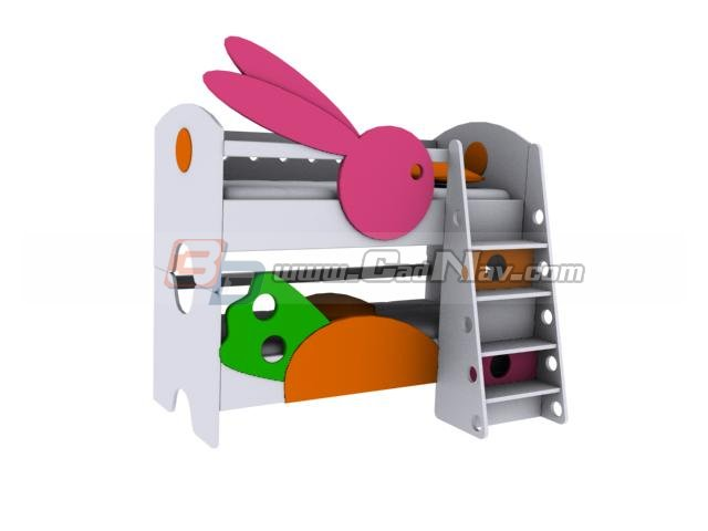 Wooden bunk bed for child 3d rendering