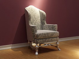 Vintage French Fabric Sofa Chair 3d model preview