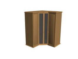 Wooden corner cabinet 3d preview