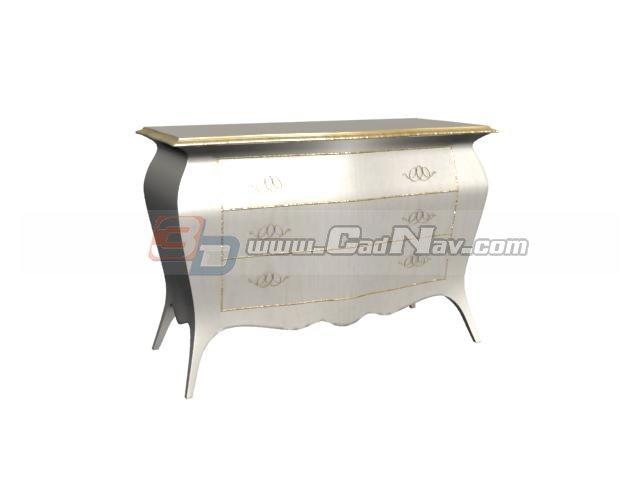 Hand painted desk side cabinet 3d rendering