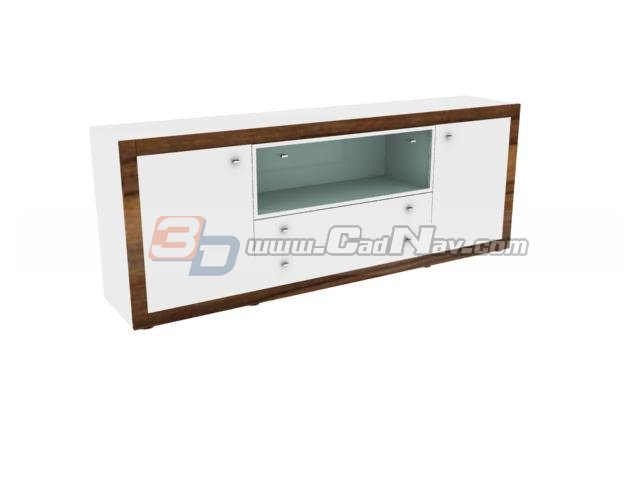 High gloss tv cabinet 3d rendering
