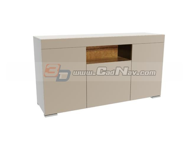 Wooden furnitur side cabinet 3d rendering