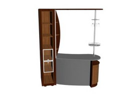 Home Bar Counter with Wine Cabinet 3d preview