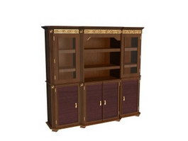Carved antique wine cabinet 3d preview