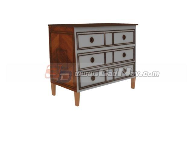 Living Room Decorate Antique Side Cabinet 3d rendering