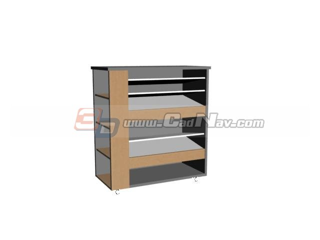 Multi-tier shoe cabinet 3d rendering